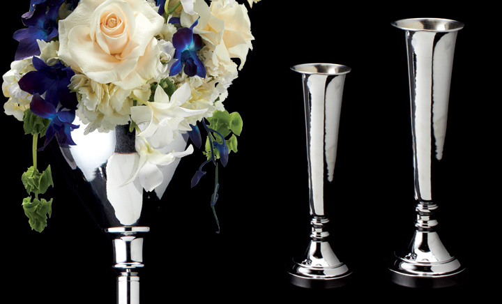 Aluminum Silver Vases Floral Towers Portofino International